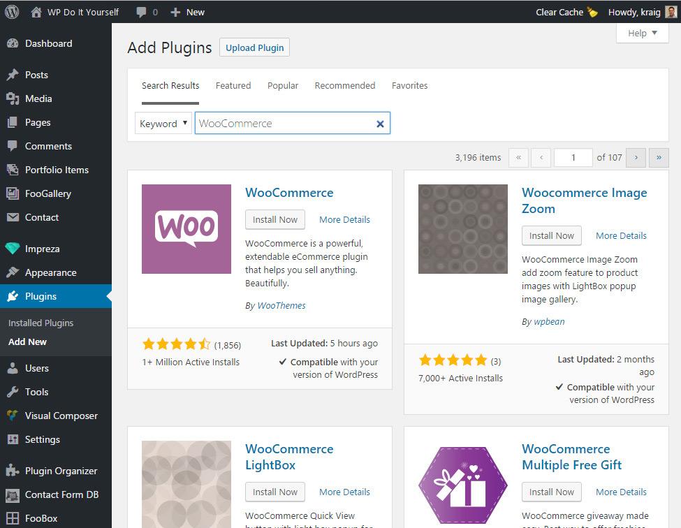 Install the WooCommerce plugin from WordPress's Add Plugin screen
