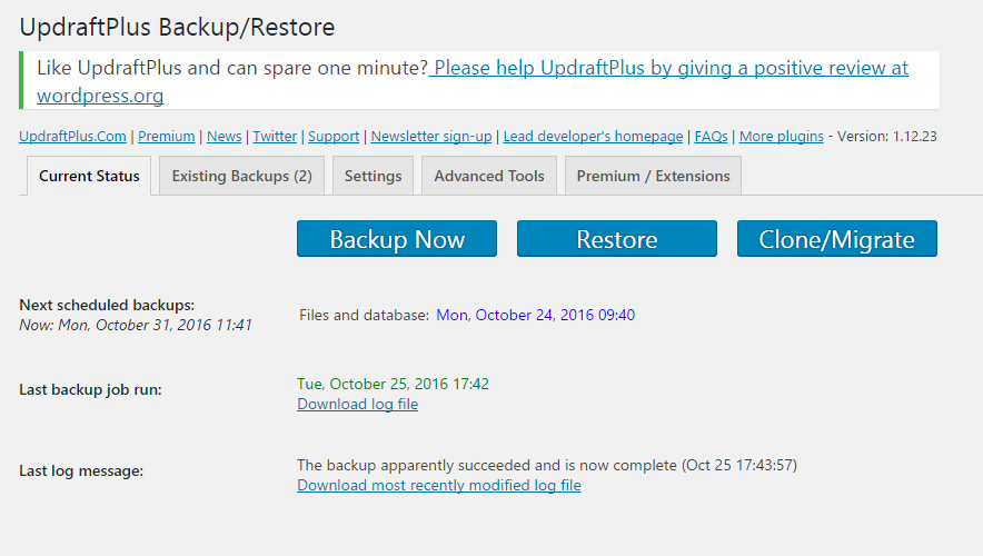 Backing up WordPress with UpdraftPlus