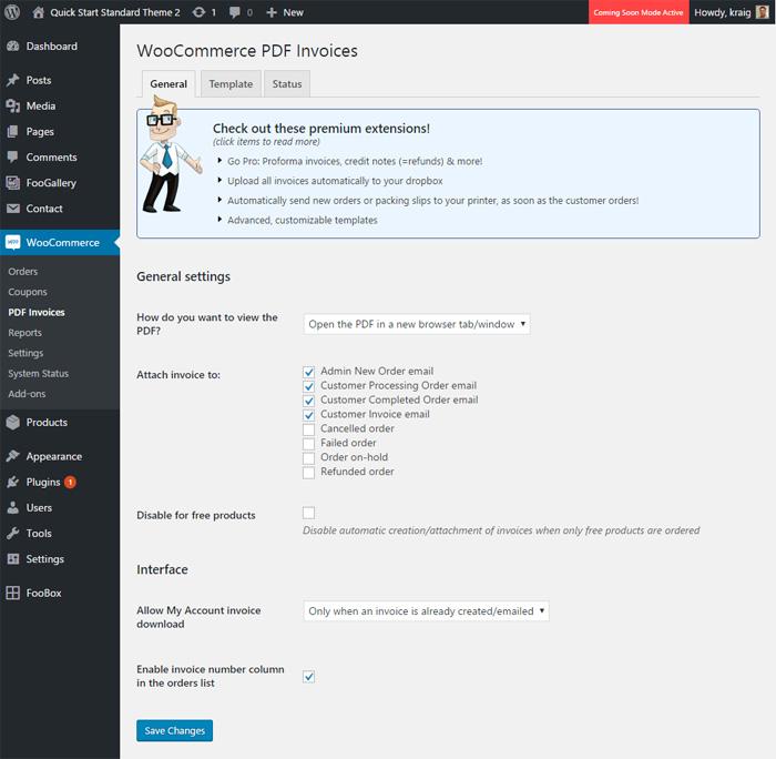 WooCommerce PDF Invoice and Packing Slip Settings